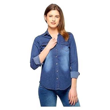 a66f51d0f DIMPY GARMENTS BuyNewTrend Dark Denim Shirt for Women/Girls: Amazon ...