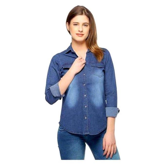 d842b0c124c DIMPY GARMENTS BuyNewTrend Dark Denim Shirt for Women Girls  Amazon.in   Clothing   Accessories