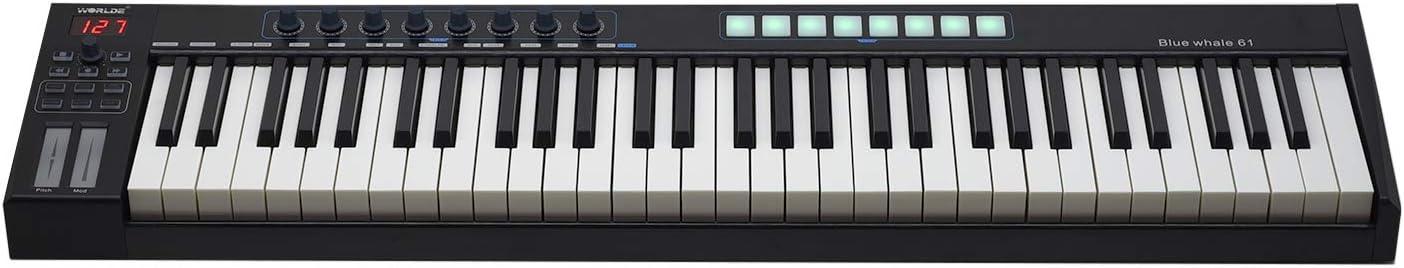 Muslady WORLDE Blue whale 61 Teclado Controlador USB MIDI ...
