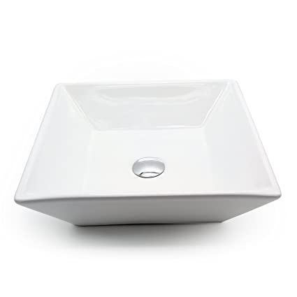 Square White Ceramic Vessel Sink Bowl With Free Pop Up Drain For Bathroom  And Other