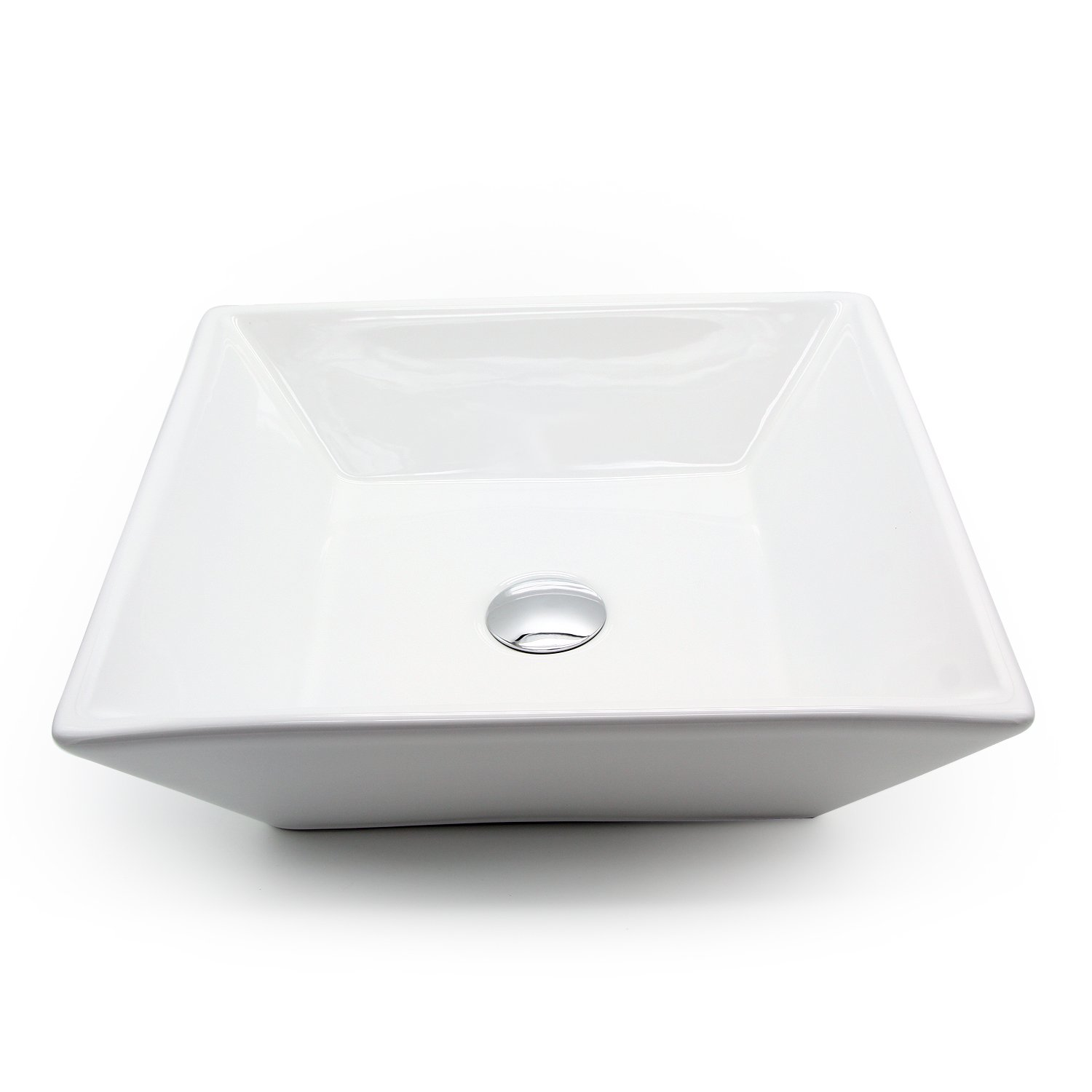 Ainfox Vessel Sink Vanity Bowl Ceramic, Pop-up Drain White Square for Bathroom
