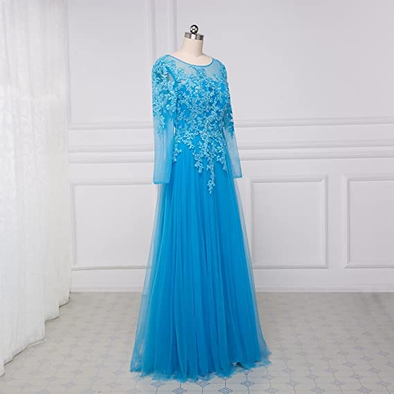 Beauty-Emily Prom Dresses Womens Long Sleeves Long Blue Lace Dresses Plus Size Blue, Size US 12: Amazon.co.uk: Clothing