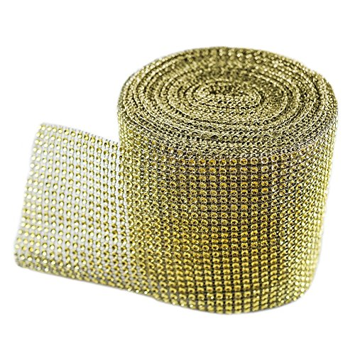 KUPOO Diamond Sparkling Rhinestone Mesh Ribbon for Event Decorations, Wedding Cake, Birthdays, Baby Shower, Arts and Crafts, 10 Yards, 24 Row (Yellow Gold)