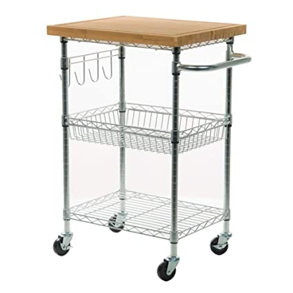 Amazon Com Andover Mills Taunton Kitchen Cart With Wood