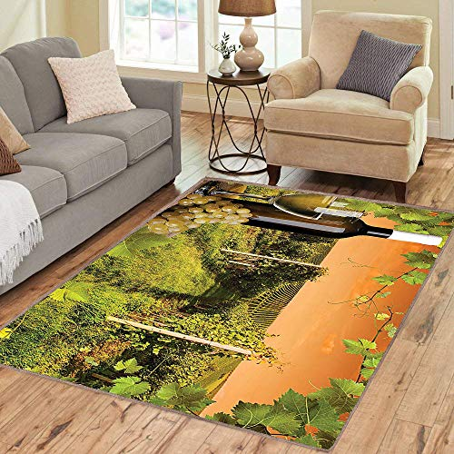 Rug,FloorMatRug,Winery Collection,AreaRug,Bottle and Glass of Wine and The Vineyards of Sunset Countryside Romantic Evening View,Home mat,3