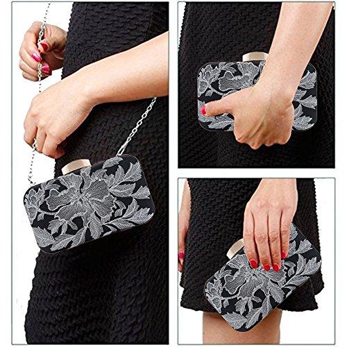 Black Frame Flowers Case Thread Womens Silver Hard Handbag Bag Shoulder Purse Metal Clutch Evening Bag qzdawpFa