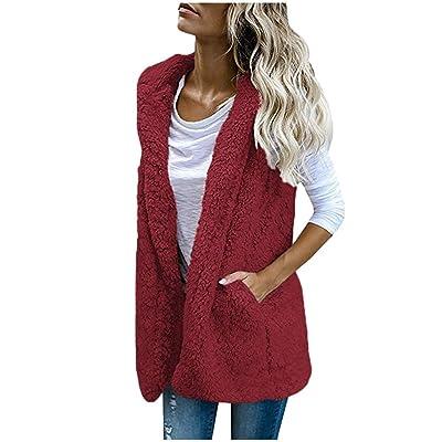 Sttech1 Women Casual Sherpa Fleece Vest Jackets Lapel Open Front Fall Warm Lightweight Coat with Pockets: Clothing