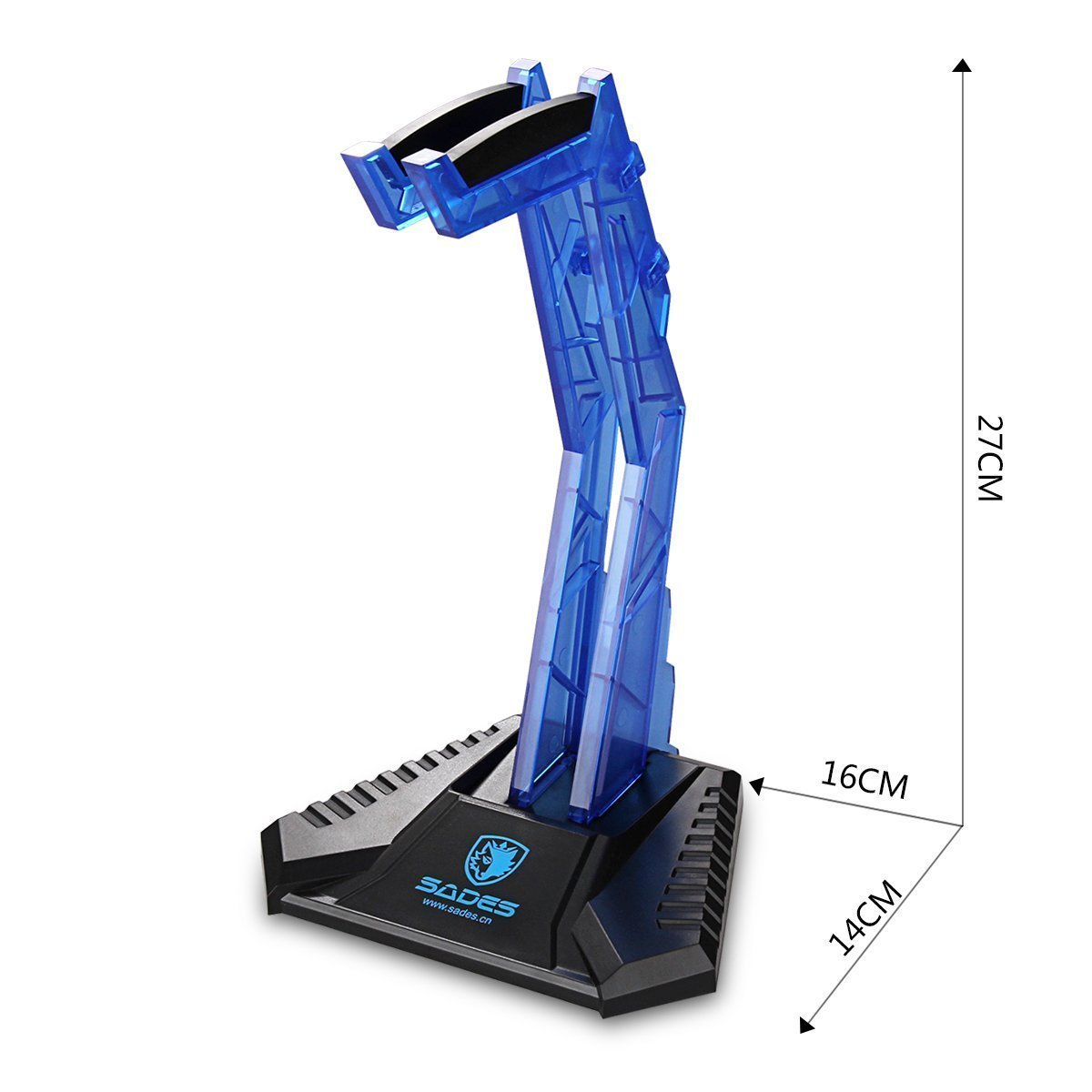 Sades S-xlyz Gaming Headset Cradle Acrylic Bracket Stand Head-mounted Display Rack Headphone Hanger Holder For Gamers (Blue)