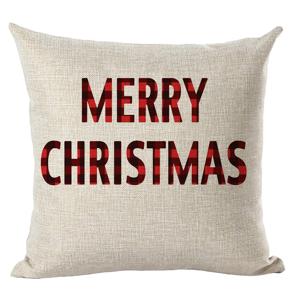 Boomsea Set of 4 Christmas Decoration Red Plaid Pillow Covers 18x18 Home Couch Cotton Linen Pillowcase