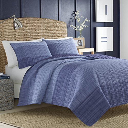 Nautica Riverview Cotton Pieced Quilt, Twin - Blue, 217416