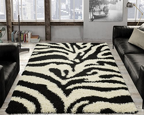 Black, Ivory Animal Print Zebra Design High Pile Soft Shag Area Rug (3'3