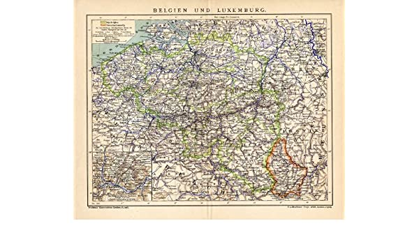 Amazon Com Antique Map Belgium Luxembourg Europe Brockhaus 1895