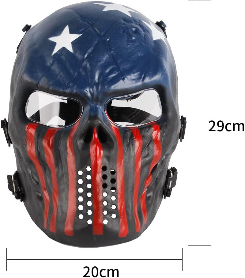 Anyoupin Paintball Mask, Skull Skeleton Full Face Airsoft Mask with Clear Lens Army Fans Supplies M06 Tactical Mask for Halloween Paintball BB Gun CS Game Cosplay and Masquerade Party (Captain) : Sports & Outdoors