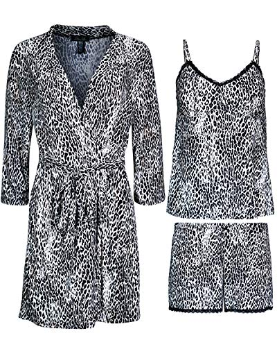 Rene Rofe Women\'s 3-Piece Pajama Set - Shorts, Cami and Robe, Leopard, Size Small'