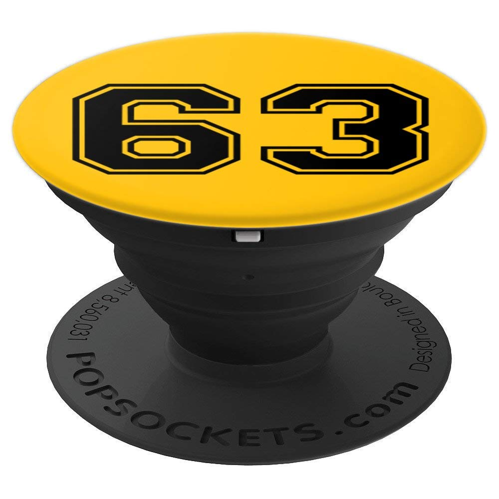 4ffa8ff839ce0 Amazon.com: Jersey Number 63, #63, No. 63, Sixty Three Black and Yellow -  PopSockets Grip and Stand for Phones and Tablets: Cell Phones & Accessories