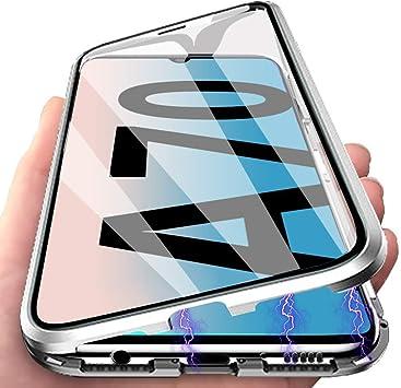 Gypsophilaa Funda para Samsung Galaxy A70, 360 Grados Delantera y Trasera de Transparente Vidrio Templado Case Cover, Fuerte Tecnología de Adsorción Magnética Metal Bumper Cubierta: Amazon.es: Electrónica