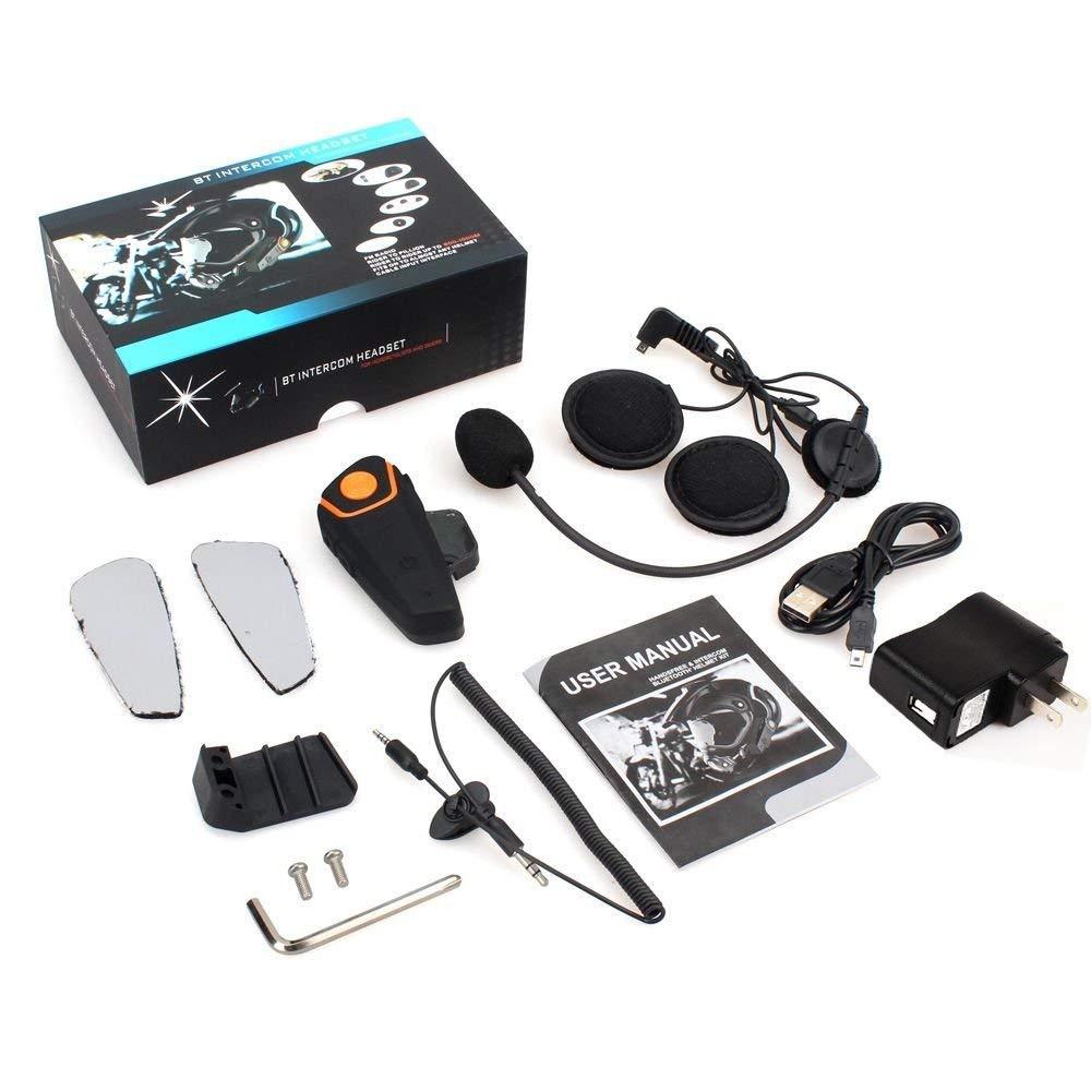 Pack 1 Thokwok Helmet Bluetooth Headset,BT-S2 1000m Motorcycle Helmet Bluetooth Speakers Motorcycle Bluetooth Communication System Headphones for Snowmobile Intercom Up to 3 Riders
