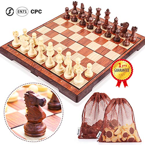 """Peradix Magnetic Folding Chess Set, Big Size with 2 Storage Bags for Carpets Bottom Chess Pieces Storage, Folding Latch Box Lightweight for Easy Carrying, Portabl Travel Game for Kids Adults(14""""×12"""")"""