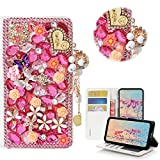 STENES LG Aristo 2 Case - Stylish - 3D Handmade Crystal Heart Pendant Butterfly Flowers Wallet Credit Card Slots Fold Media Stand Leather Cover for LG Aristo 2 / LG Tribute Dynasty/LG K8 2018 - Pink