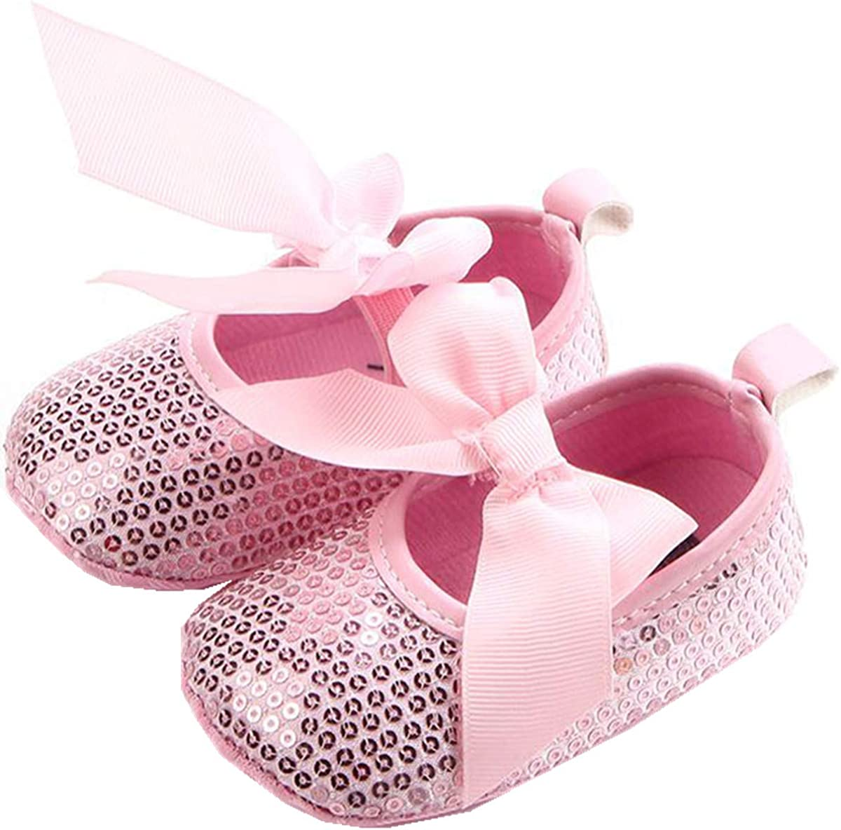 ADIASEN Baby Girl Shoes,Sequine Glitter Bowknot Soft Non-Slip Toddler Shoes,Band Bowknot Infants Shoes,Newborn Shoes
