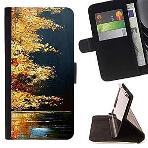 Momo Phone Case / Flip Funda de Cuero Case Cover - Otoño Natural del Lago de oro de Brown - LG G4 Stylus H540