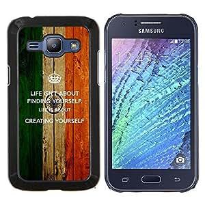 KLONGSHOP // Cubierta de piel con cierre a presión Shell trasero duro de goma Protección Caso - Vida Encontrar usted mismo Creación motivación de la cita - Samsung Galaxy J1 J100 //
