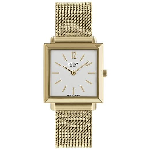 Henry London Reloj Análogo clásico para Unisex Adultos de Cuarzo con Correa en Acero Inoxidable HL26-QM-0266: Amazon.es: Relojes