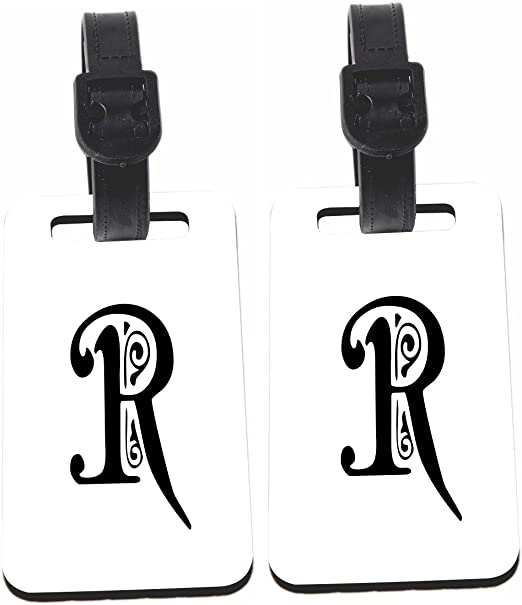 Calligraphy Monogram Letter R Design Luggage Identifier With Strap X2