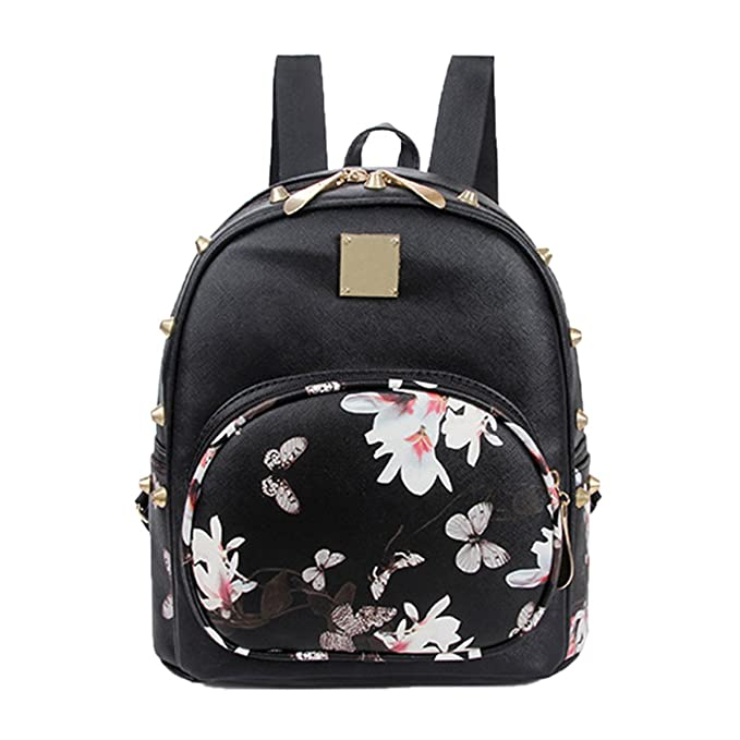 Amazon.com  ABage Mini Backpack Casual Faux Leather Studded Floral Travel  Backpack Purse 3351384cf7e28
