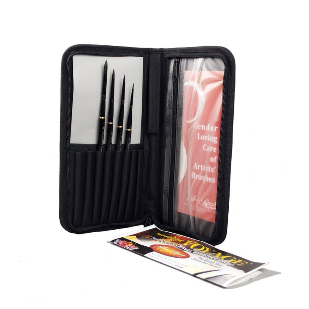 Silver Brush Black Velvet Voyage Deluxe 5 Pc Travel Brush Set
