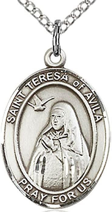 """925 Sterling silver 20/"""" Necklace SAINT THERESE HOLY MEDAL pendant female men mom"""