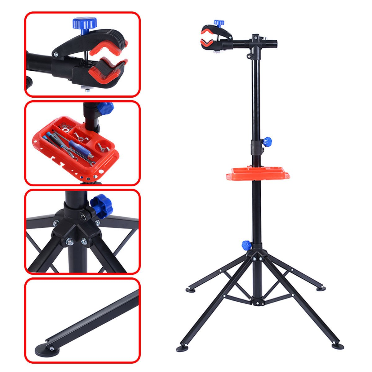 Pro Bike Adjustable 41'' to 75'' Cycle Bicycle Rack Repair Stand w/Tool Tray Red