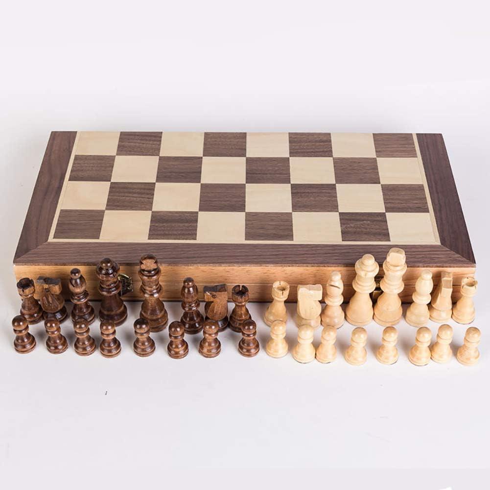 Holzklappschach und Dame Brettspiel Lernspielzeug f/ür Kinder und Erwachsene Magnetisches Schachspiel Spielkassette und Figuren aus Holz f/ür Kinder und Erwachsene ZUOQUAN Schachspiel