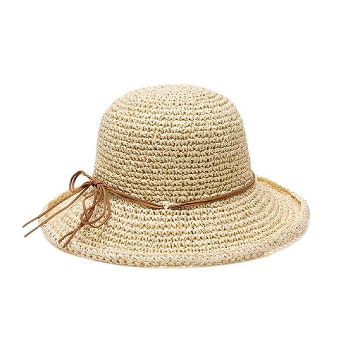Gorros para Mujer Sombrero Protección De Solar Panamá para Modernas Casual El Verano Sombrero De Paja Playa De Vacaciones Casual Sombrero para El Sol ...