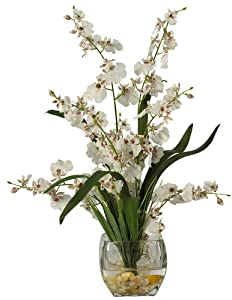 Nearly Natural 1119-WH 19in. Dancing Lady Orchid Liquid Illusion Silk Flower Arrangement