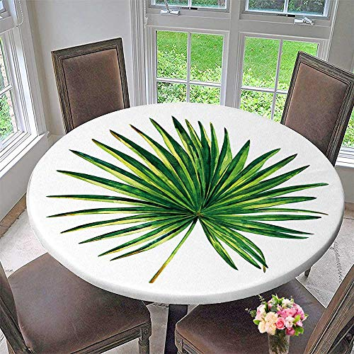 Chateau Easy-Care Cloth Tablecloth Hand Painted Palmetto Tree Botanical of Fan Shaped Palm Leaf Isolated on for Home, Party, Wedding 55