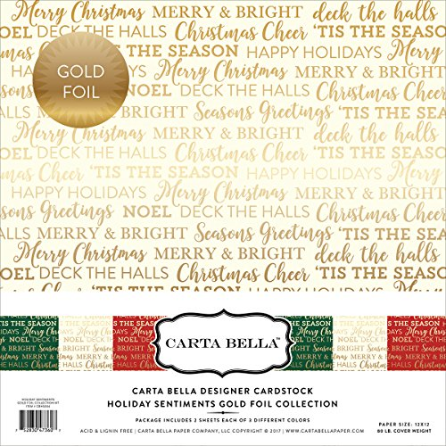 Christmas Paper Wishes 12x12 (Carta Bella Paper Company Holiday Sentiments Gold Foil Collection Kit)