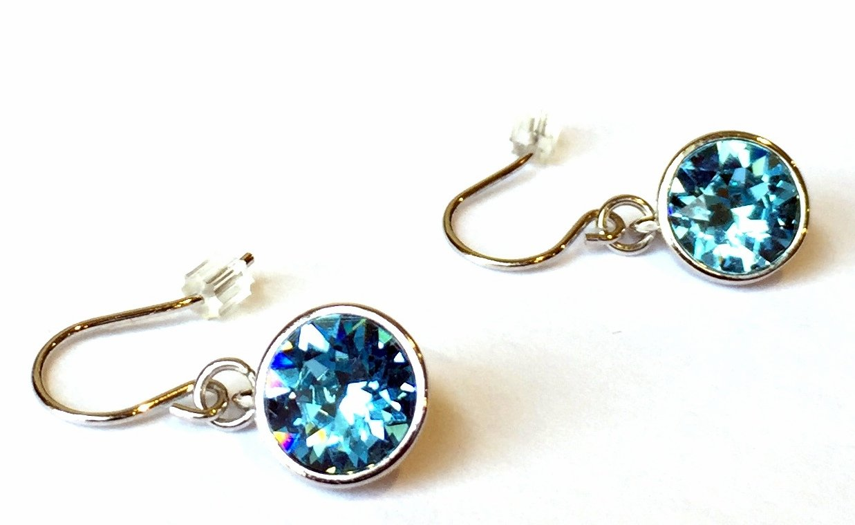 UPSERA Solitaire Dangle Drop Earrings Made with Swarovski Crystals 10MM - Rhodium plated Hypoallergenic Jewelry for women girls, Gift pouch included by UPSERA