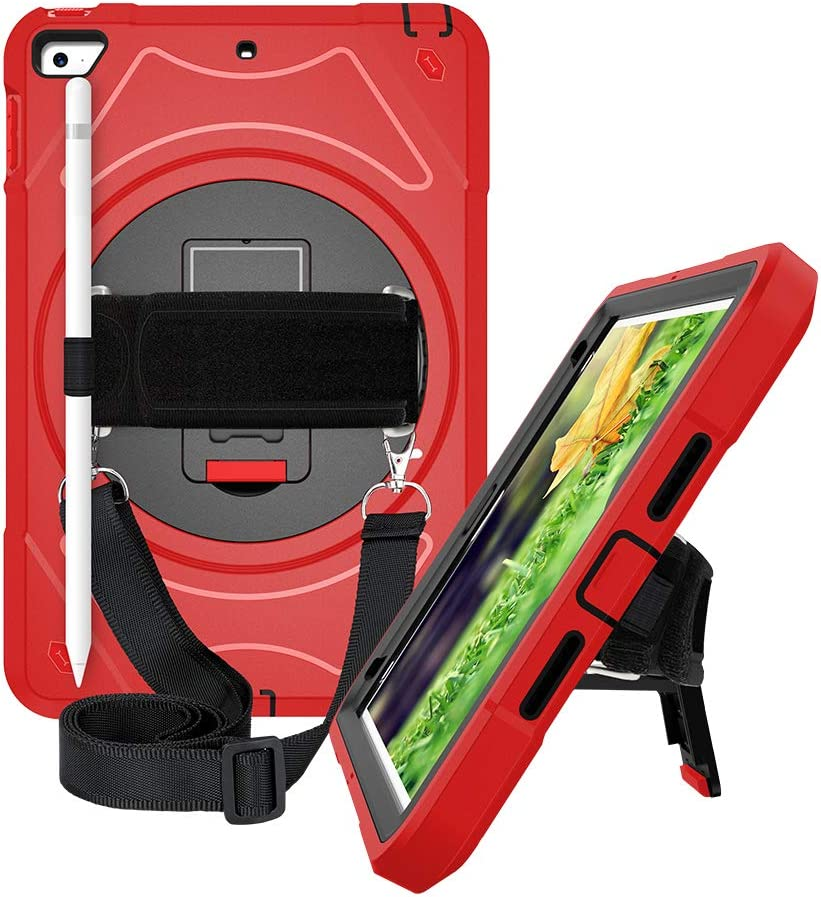 Hand Strap/& Red Stylus Pencil Holder Shoulder Strap for iPad Mini 4th//5th Generation 7.9 inch 360 Rotating Stand Three Layer Hybrid Drop Protection Case with TEGOS/iPad Mini 5//4 Case