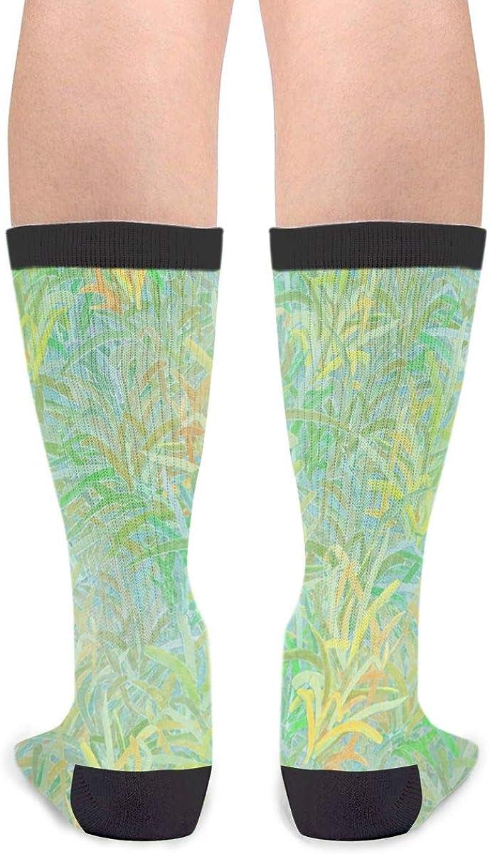 YISHOW Turtle Grass Green White Funny Crew Socks