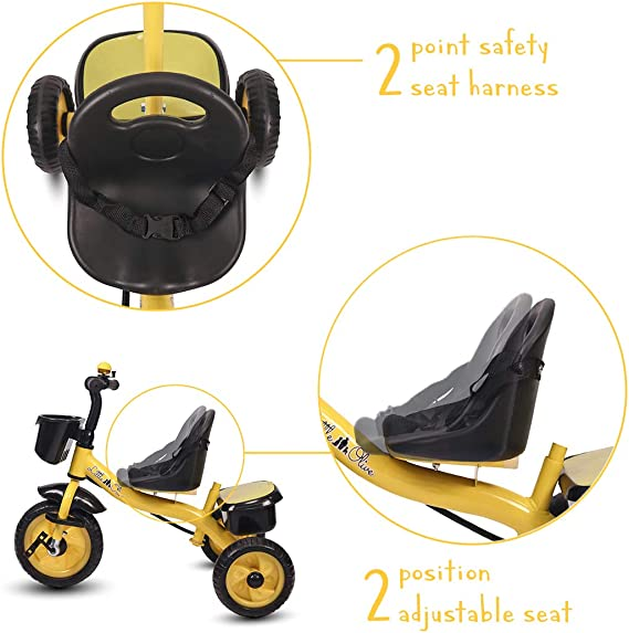 Little Olive Little Toes Baby / Kids Tricycle with Push Bar and Foot Rest, 1-4 Years (Yellow)