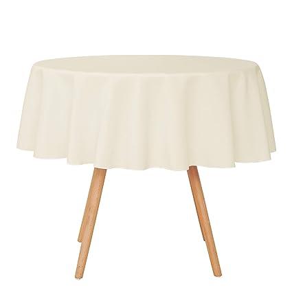 Umi. by Amazon - Nappe Ronde Beige Polyester Impermeable Nappe pour table  ronde coloré style simple Vacances Maison Salle à manger fête Diamètre 140cm