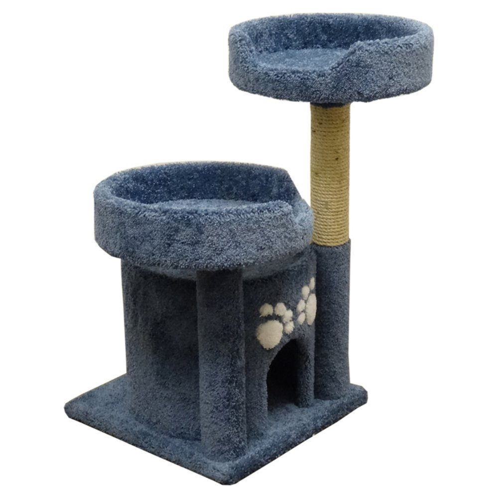 Wood Cat Furniture Part - 42: Amazon.com : New Cat Condos Premier Double Perch Solid Wood Cat Condo, Blue  : Cat Houses And Condos : Pet Supplies