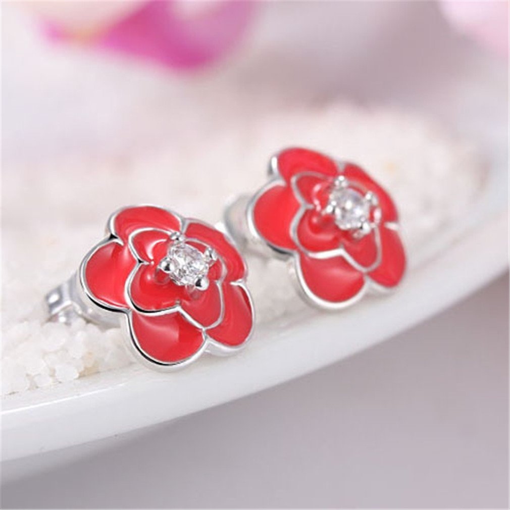 Elegant Red Rose Flower 925 Sterling Silver Stud Earrinig For Women Wedding With Shiny CZ Crystal Earring Stud