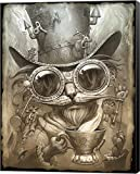 Steampunk Cat by Jeff Haynie Canvas Art Wall Picture, Museum Wrapped with Black Sides, 22 x 28 inches
