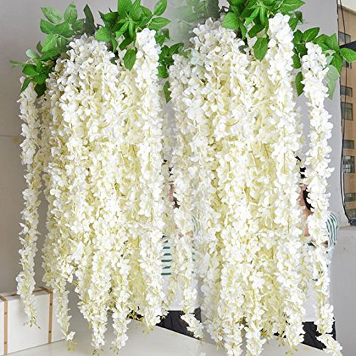 e-Joy Realistic Artificial Silk Wisteria Vine Ratta Silk Hanging Flower Plant for Home Party Wedding Decor and Other Various Events, 12 Pieces, 3.6 Feet Each White