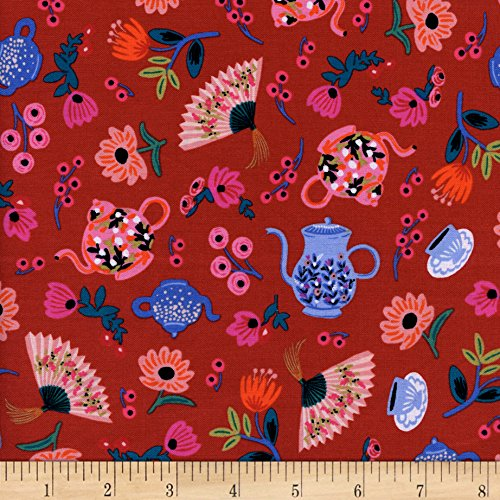 Cotton + Steel Rifle Paper Co. Wonderland Garden Party Crimson Fabric By The Yard