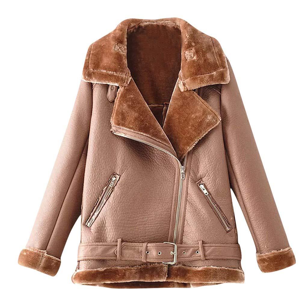 Midress Women's Fashion Warm Jackets Long Sleeve Solid Zipper Coats Fuzzy Fleece Pocket Lapel Plush Outwear Motorcycle Cool Parka Coat by Midress