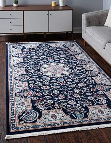 Unique Loom Narenj Collection Classic Traditional Medallion Textured Navy Blue Area Rug 3 0 x 5 0