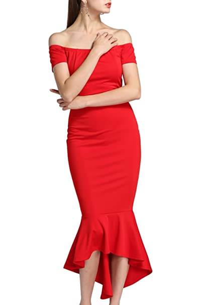 7b5e3ccc49 Allimy Women Sexy Off Shoulder High Low Mermaid Graduation Formal Bodycon  Dress Party Wedding Red